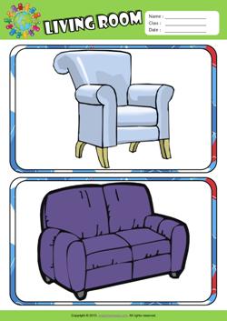 Living Room ESL Flashcards Set For Kids