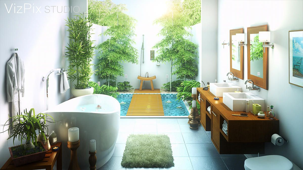 This 3D architectural visualization of an outdoor tropical spa ...