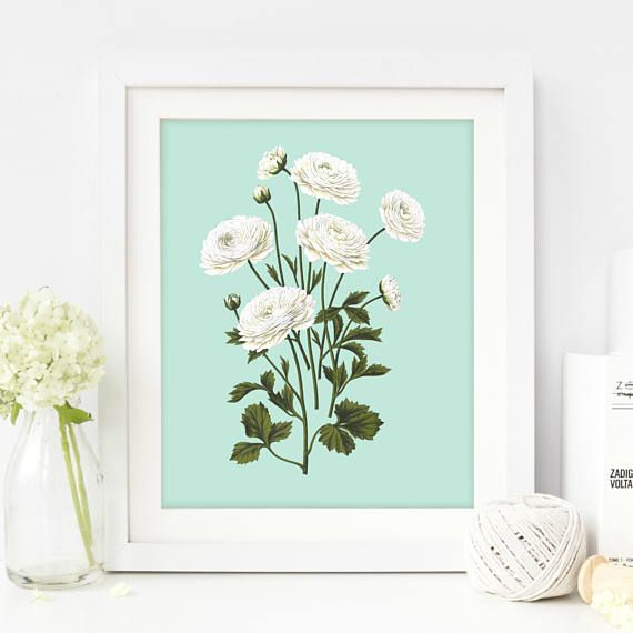 White Flowers Print Floral Rose Wall Art Shabby Chic