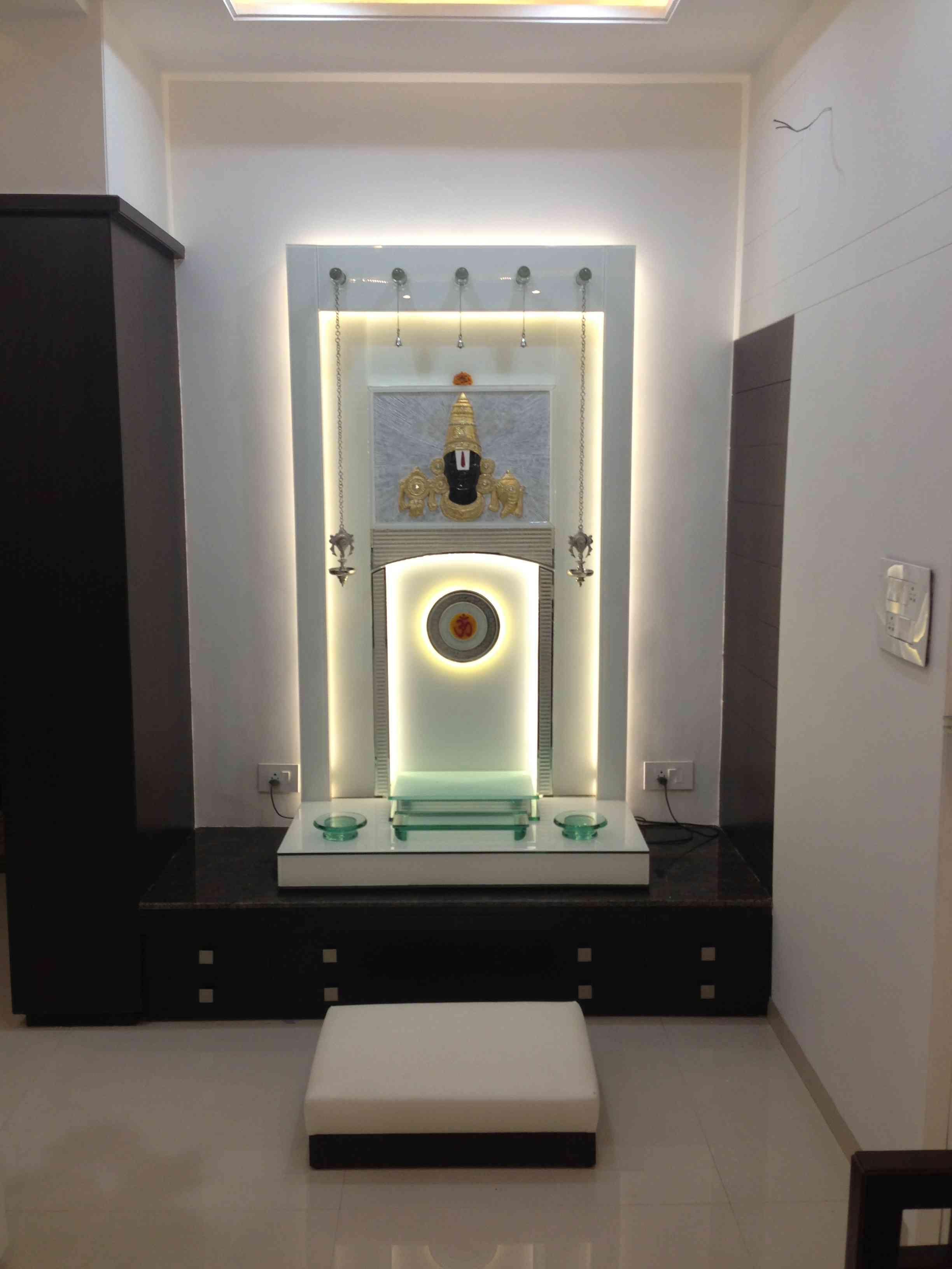 Glass pooja mandir designs for home.