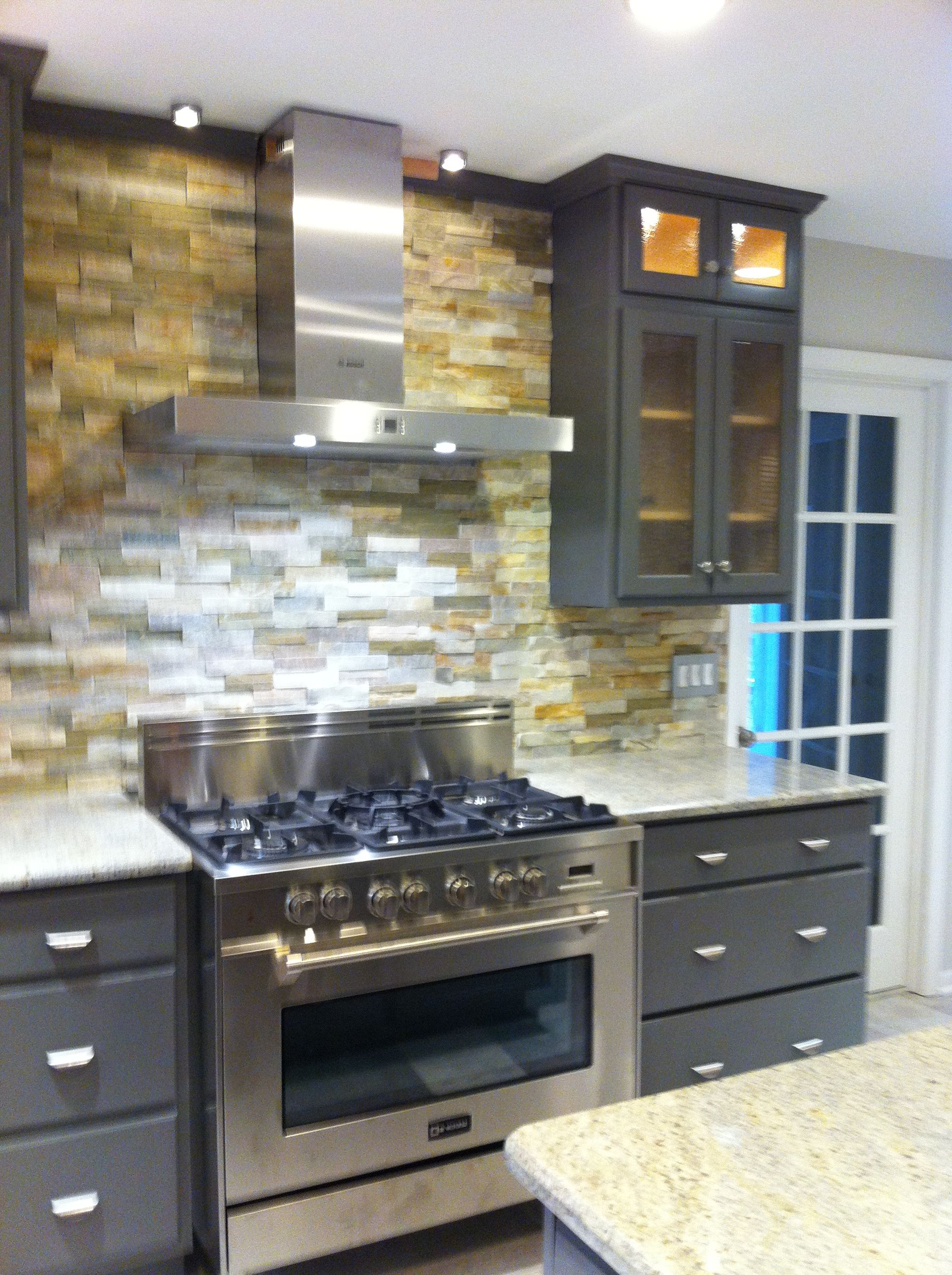 This Backsplash Goes All The Way To The Ceiling The Tile Is Slate And Is Called Ledger Tile It Uses No Grout Kitchen Redo Backsplash Kitchen