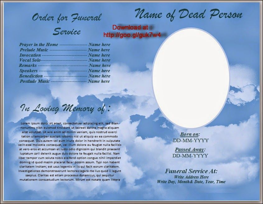 A free to download funeral program template Microsoft Word in doc – Free Funeral Templates Download