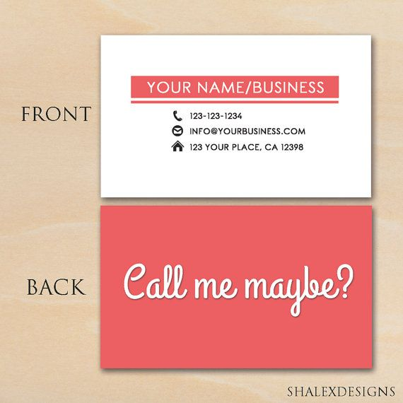 Call Me Maybe Business Card Photoshop Template Psd Instant Etsy Business Card Photoshop Calling Card Template Business Card Template Psd