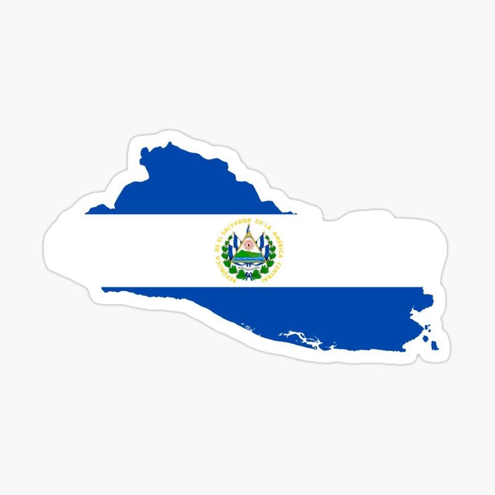 El Salvador Flag Map Sticker By Groovysheck El Salvador Flag El Salvador Art Small Canvas Art [ 1000 x 1000 Pixel ]