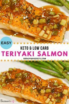 If you like Asian inspired food you will love this Low Carb & Keto Teriyaki Salmon. It has all of the flavors of your favorite dish without the added sugar and carbs! In this post I share how to make keto teriyaki sauce and describe why salmon was the perfect protein for this meal. Plus I share low carb side dishes that will help you make this main dish into a meal. #keto If you like Asian inspired food you will love this Low Carb & Keto Teriyaki Salmon. It has all of the flavors of your favori #teriyakisalmon
