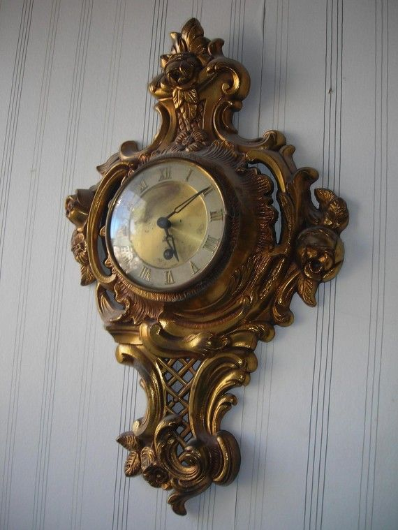 antique vintage French clock brass ornate wall clock wind up roses