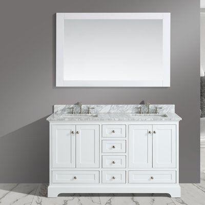 Charlton Home Castellanos 60 Double Bathroom Vanity Set With Mirror