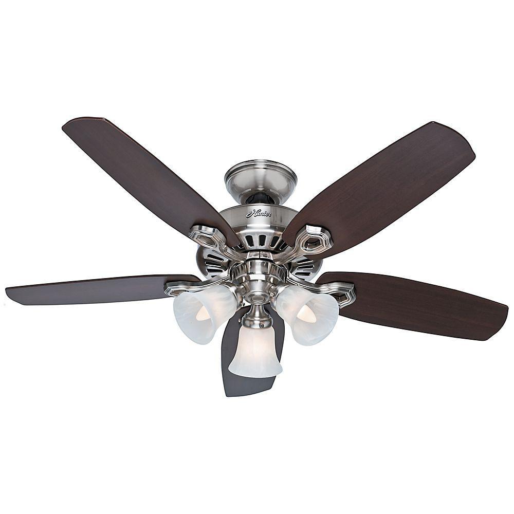 Hunter 42 In Indoor Brushed Nickel Builder Small Room Ceiling Fan