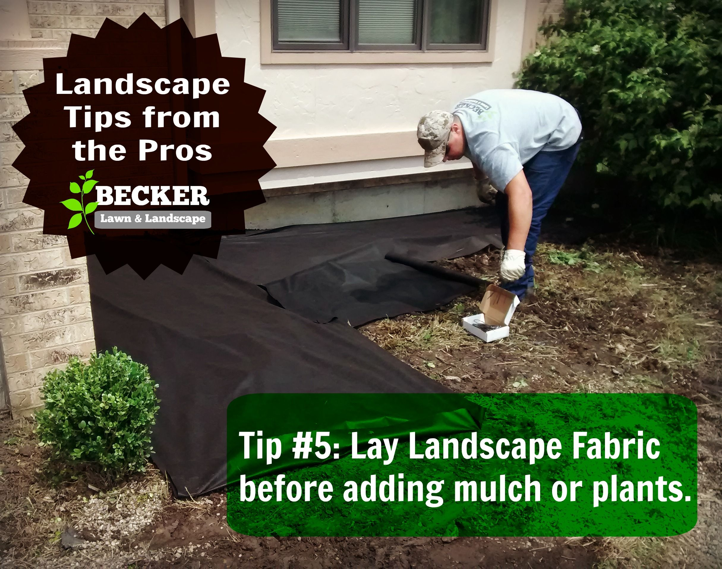 landscape tips from the pros secure landscapers fabric over flower