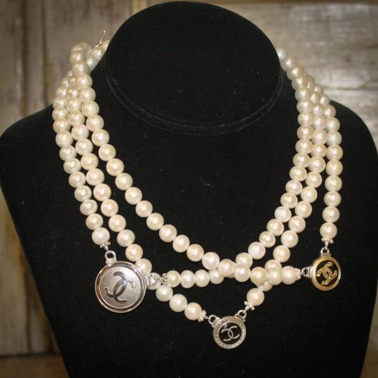 freshwater pearls and vintage chanel buttons
