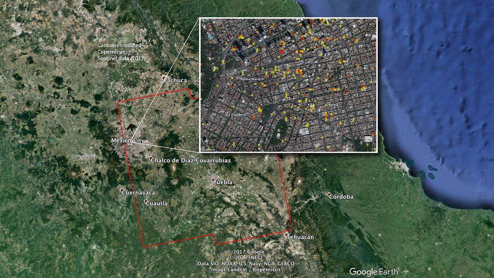 Earths Map%0A NASA JPLCaltechproduced map of damage in and around Mexico City from