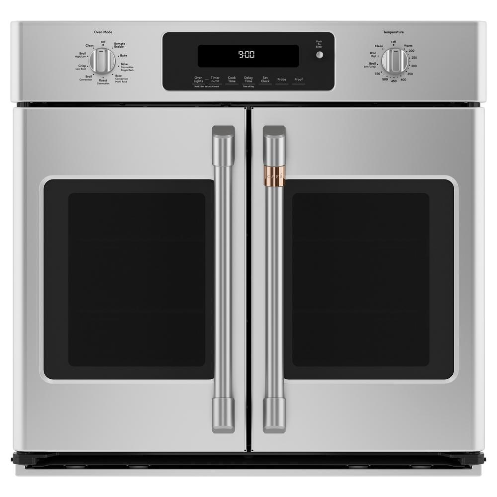 Cafe 30 In Smart Single Electric French Door Wall Oven With Convection Self Cleaning In Stainless Steel Cts90fp2ms1 The Home Depot French Door Wall Oven Single Electric Wall Oven Convection Wall Oven