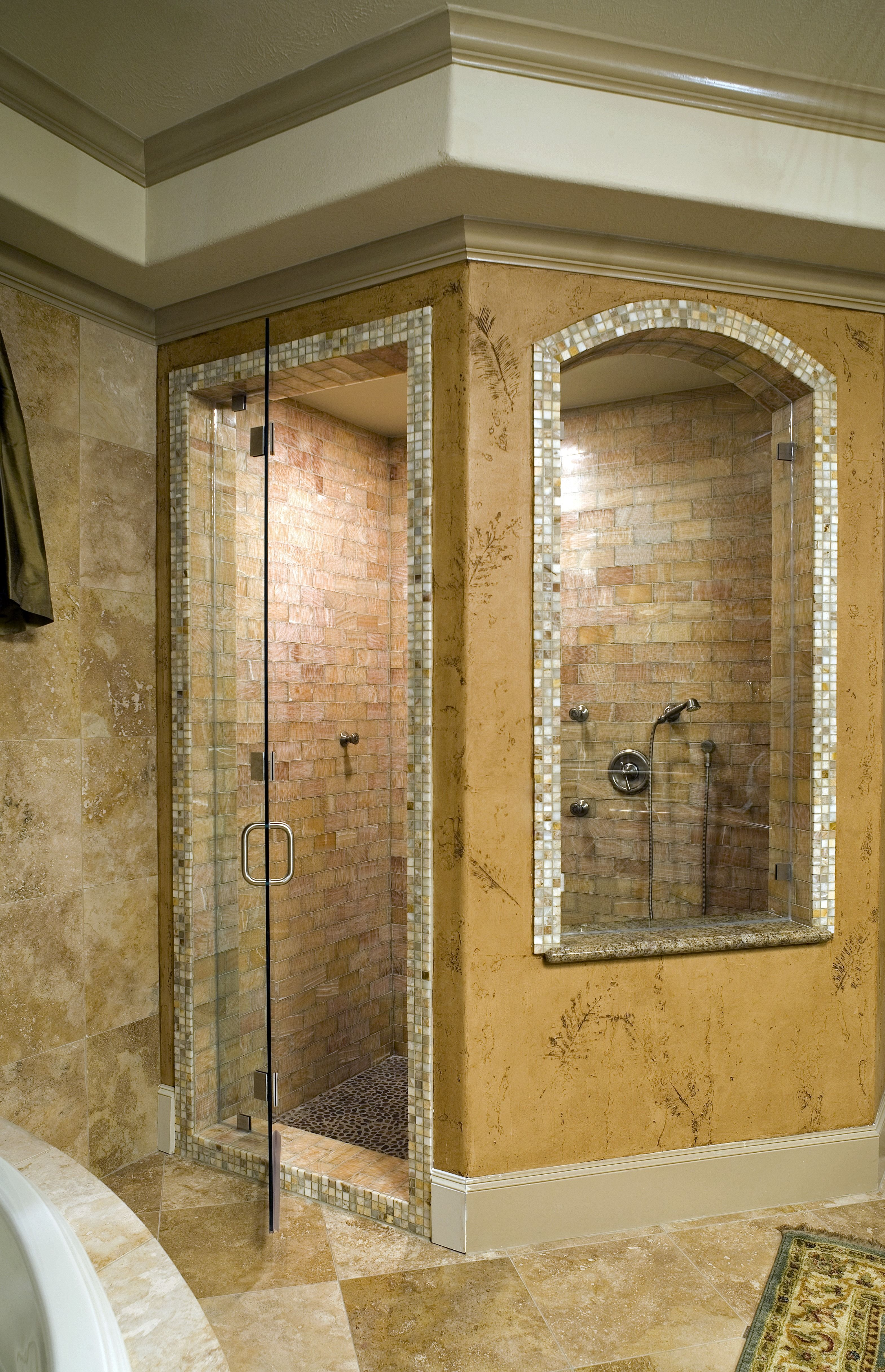 Large Traditional Shower With Gold Painted Walls A Huge Enclosure For Your Master Shower Brick Wall Tile An Master Bathroom Dream Bathrooms Amazing Bathrooms