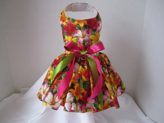 Dog Dress XS Lilies   By Nina's Couture by NinasCoutureCloset, $20.00