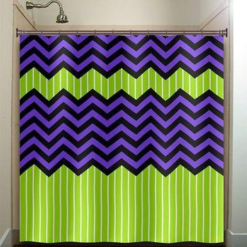 Lime Green Stripe Purple Zig Zag Chevron Shower Curtain Bathroom Decor Fabric Kids Lime Green Bathrooms Chevron Shower Curtain Unique Shower Curtain