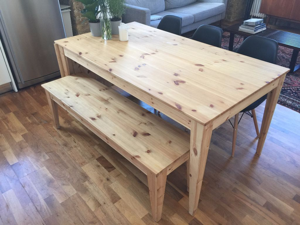 Ikea NORNAS Drop Leaf Table Bench In Pine For Sale Collection