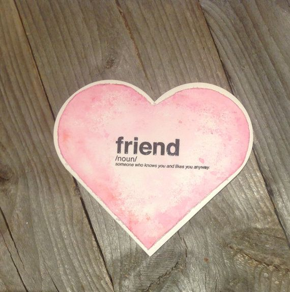 Friend Valentine card handmade pink heart by FancyHandmadeCards