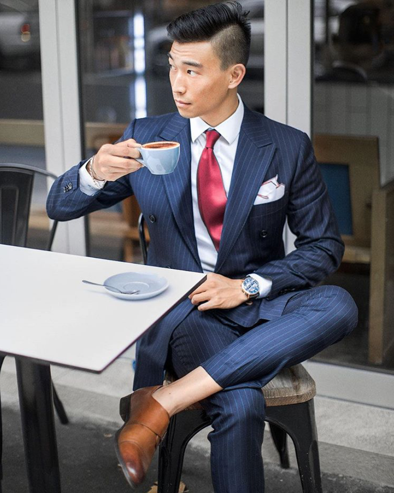 Pinstripe suit and burgundy tie.   men fashion in 2019   Suits ... 943279bc37