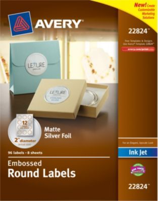 Staples®. has the Avery® Embossed Round Labels 22824, Matte Silver Foil, 2'' Diameter, Pack of 96 you need for home office or business.