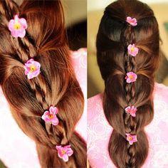 Floral Braid Braid With Flowers Hair Tutorial Beautiful Hair Wedding Hairstyles Tutorial