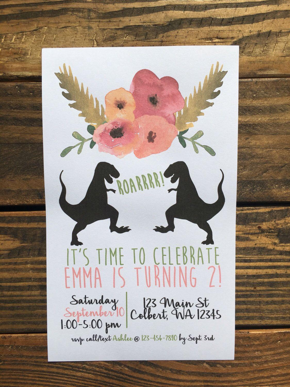 DINO Girly Dinosaur Theme Birthday Party Invitation Girl