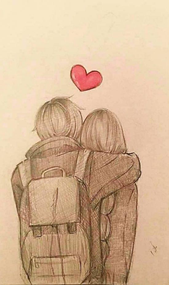 Imagenes De Amor Para Dibujar Bonitos Dibujos De Amor Anime Drawings Sketches Cute Couple Drawings Anime Hug