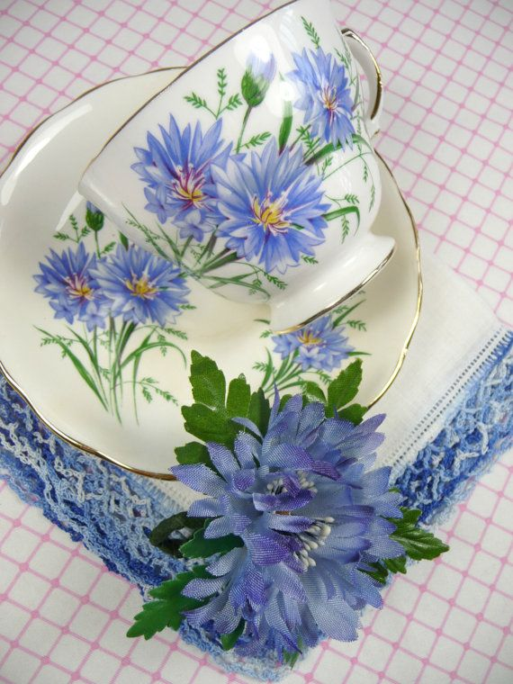 Tea Cup Hankie Corsage Gift Set Blue Flower Vintage Hankie and Millinery Cornflower Brooch Pin in Gift Box
