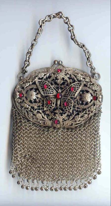 d94ab6c46450 Exquisite 1800's Ruby Jeweled Butterfly Silver Mesh Chatelaine Purse ...