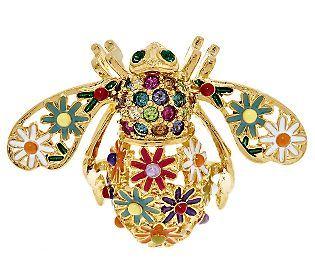 Joan Rivers Enamel Wildflower Bee Pin