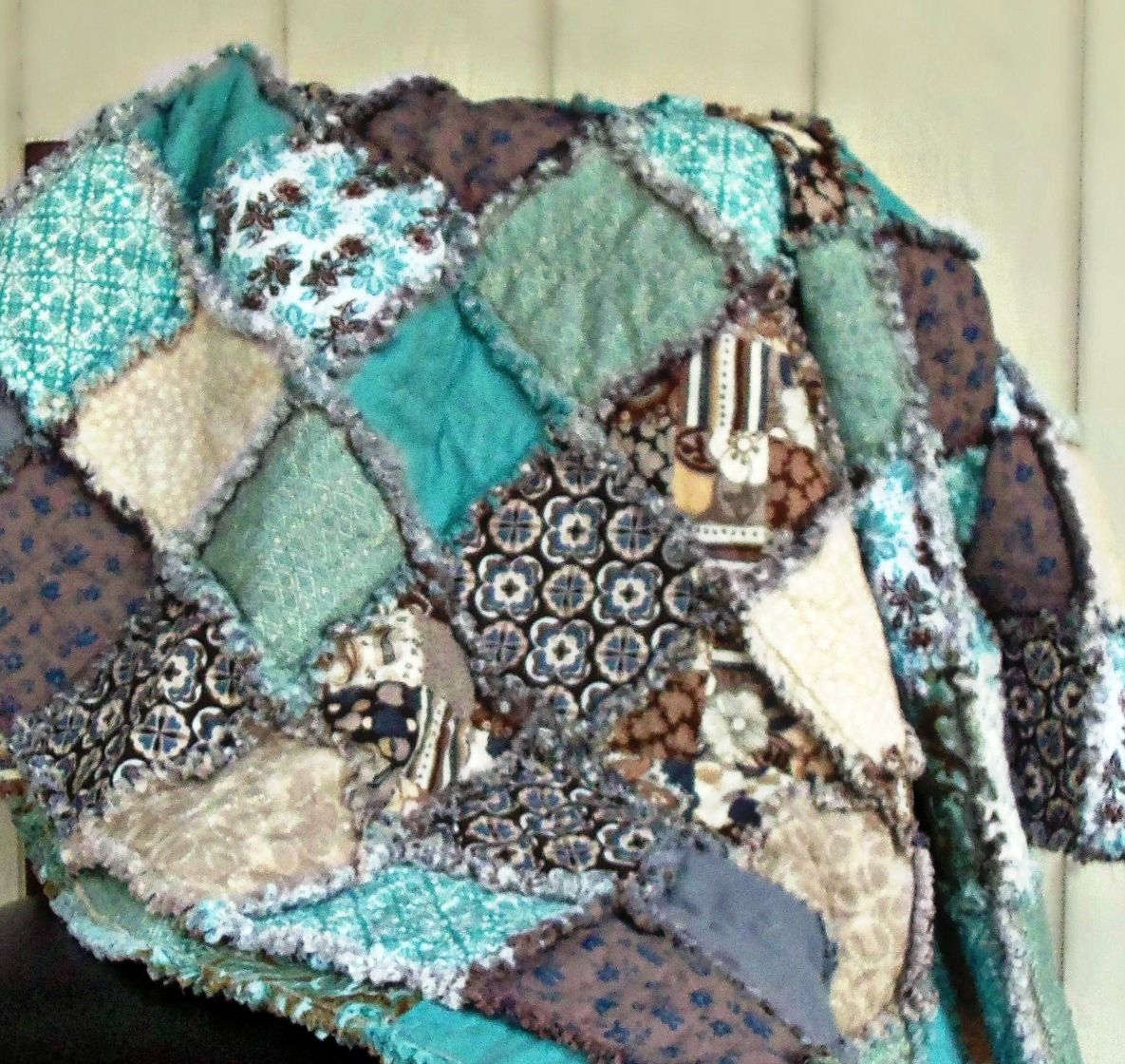Taupe - Teal - Tan - Brown - Grey Rag Quilt. Modern Rag Quilts by ...