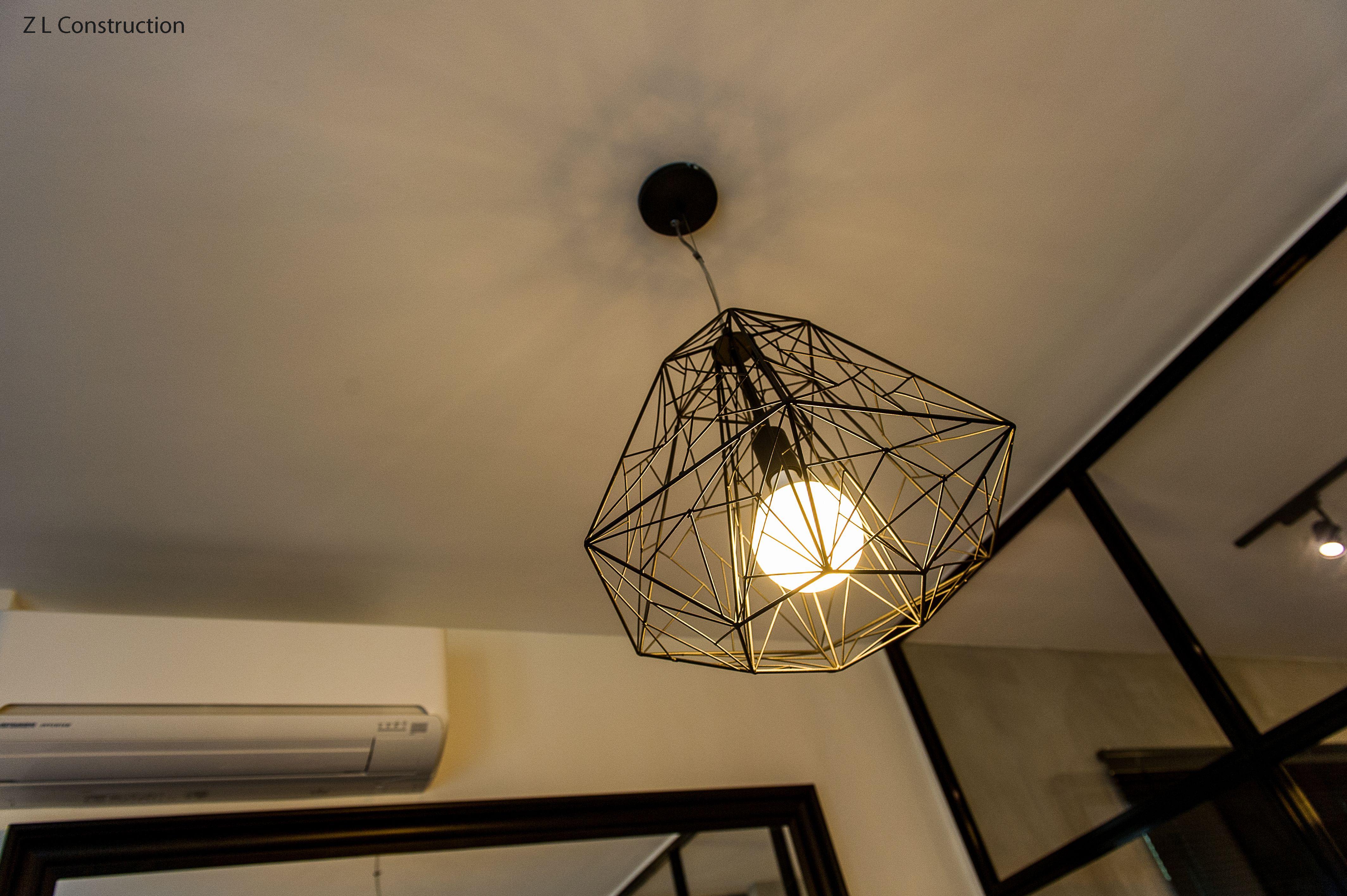 Z L Construction Singapore Industrial Lattice Ceiling Light In Black