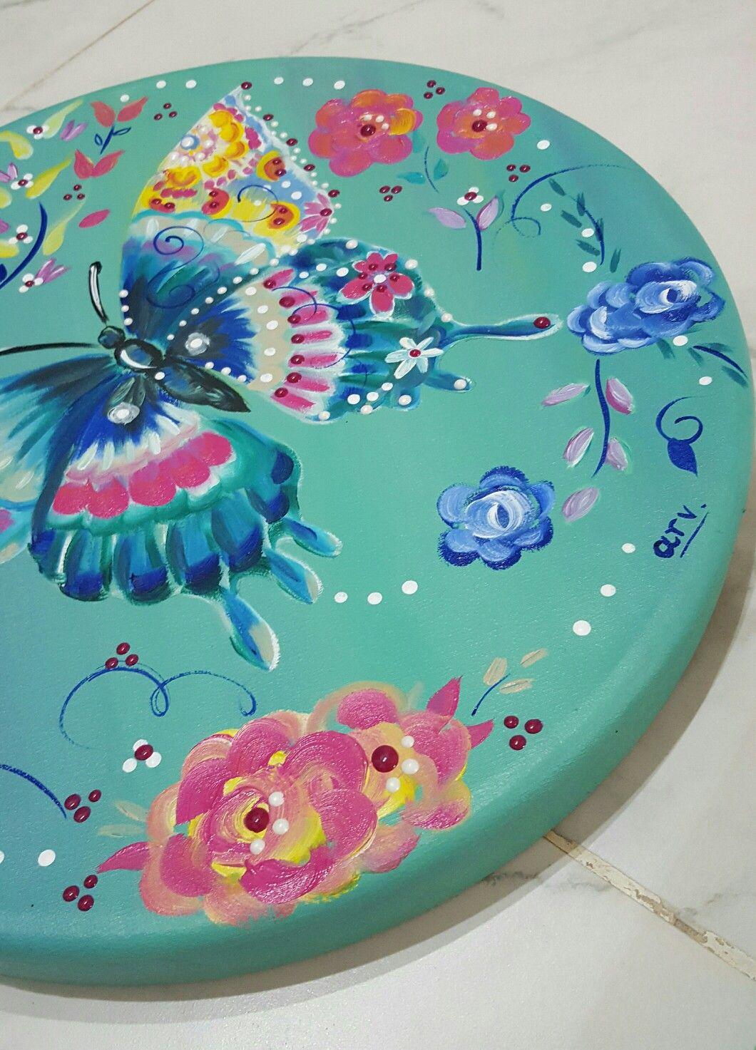 🎨🌸 #óleo 40 cm d diámetro Inspirado en el arte d Starla Michelle #arte #libertad #pinceladas #colores 🌸🎨 @albaartistica