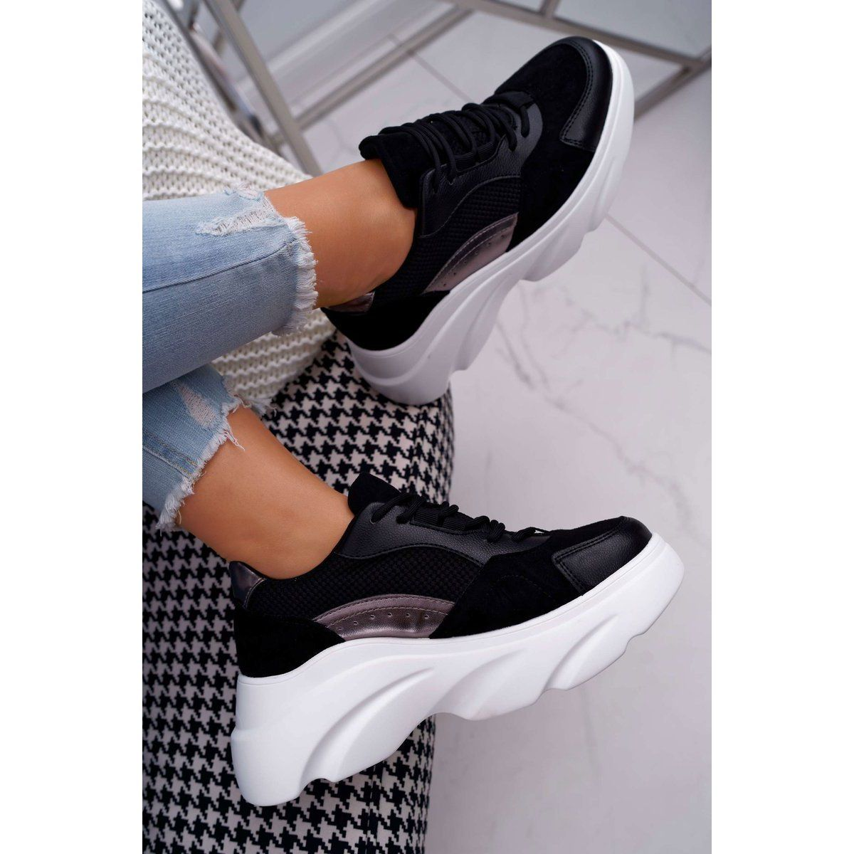 Sea Sportowe Damskie Buty Gruba Podeszwa Czarne Cardamon Adidas Sneakers Sneakers Shoes