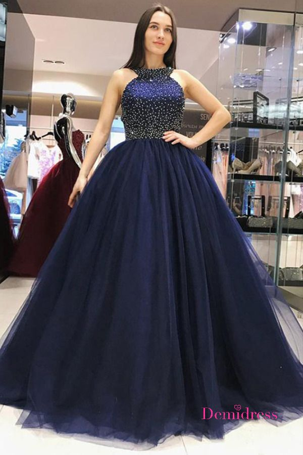 A Line Party Prom Dress Tulle Cheap Long Prom Dres