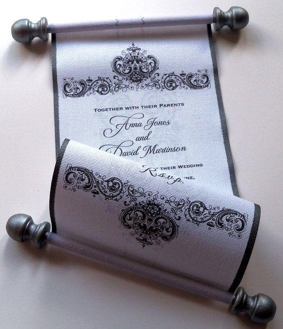 Elegant Wedding Invitation Scroll On Fabric By Artfulbeginnings 95 00 Scroll Wedding Invitations Black Wedding Invitations Classic Wedding Invitations