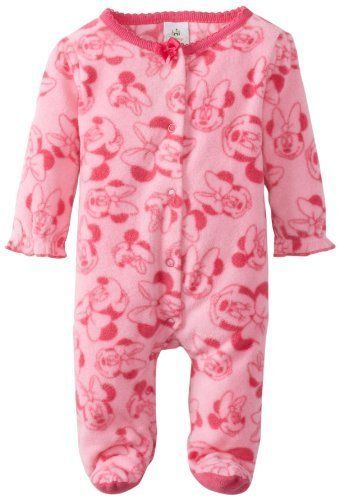 Disney Baby Girls Minnie Mouse All-Over Fleece Sleep and Play Footie…