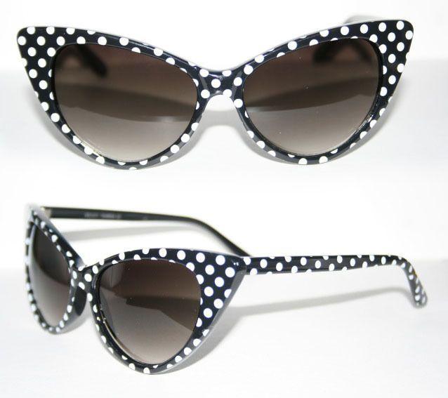 a7f8f5bcd954 Cat Eye Sonnenbrille Pinup 50er Jahre z. Petticoat Kleid Polka Dots ...