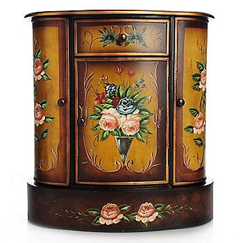"""Style at Home with Margie 29.75"""" French Meadow Hand-Painted Cabinet"""