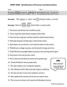 Pronoun Antecedent Identification Worksheet With Images