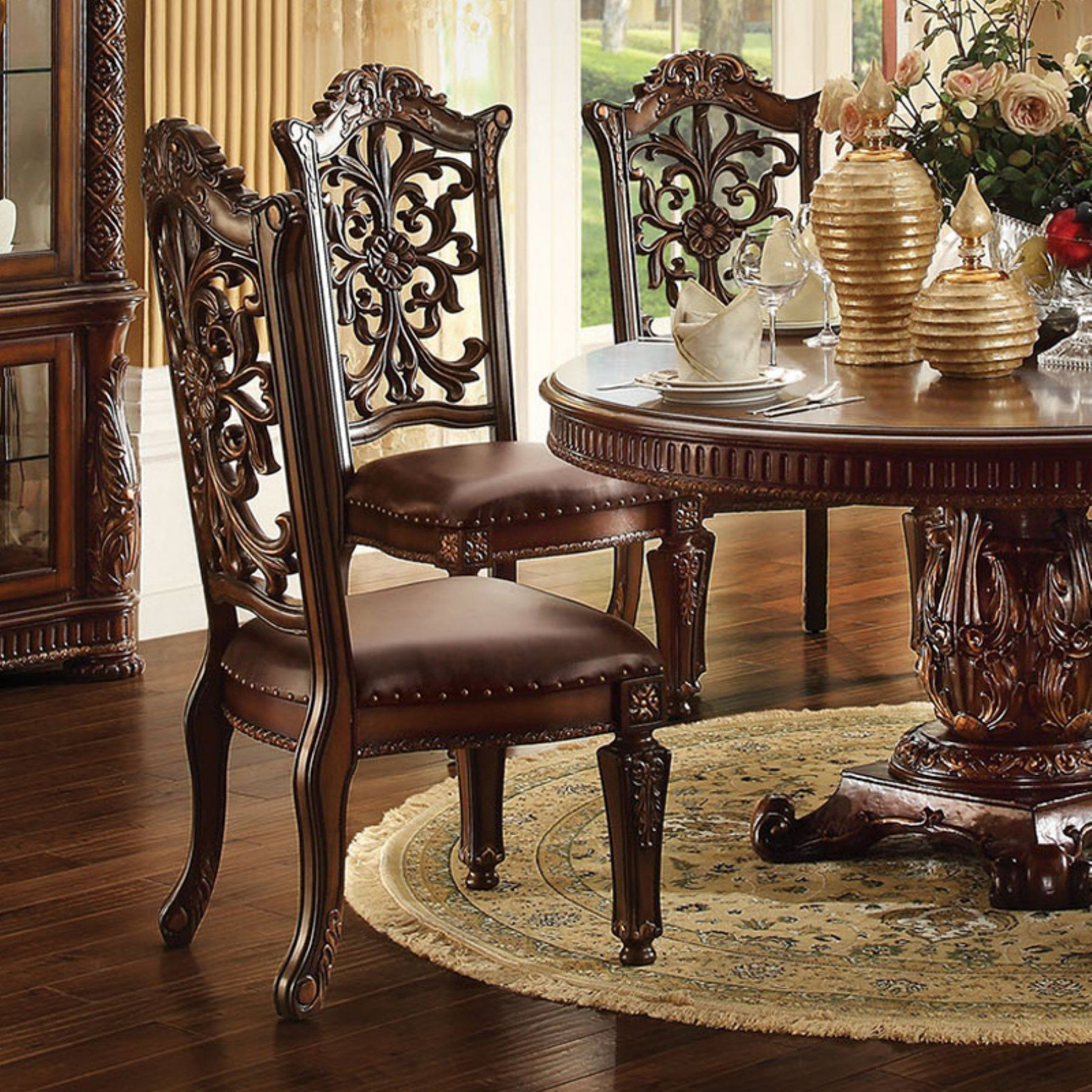 Acme Furniture Vendome Ornate Dining Side Chair Set Of 2 Side Chairs Dining Acme Furniture Round Pedestal Dining Table