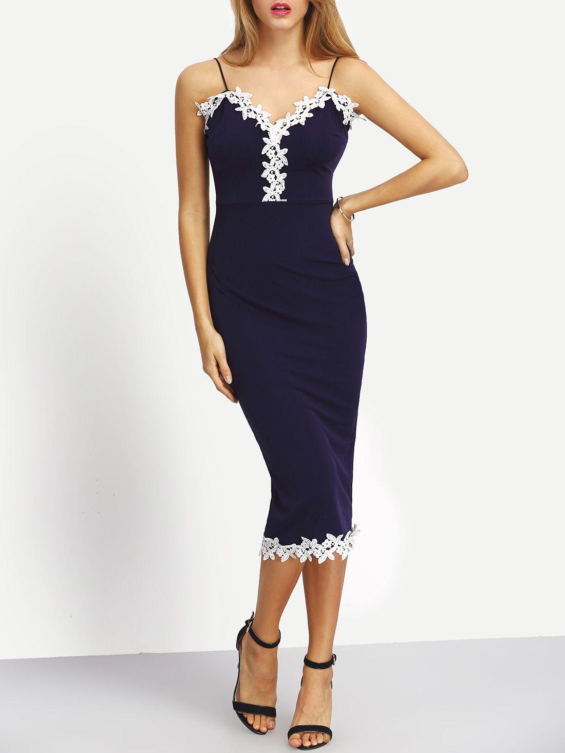 Spaghetti Strap Contrast Lace Split Back Dress -SheIn(Sheinside)