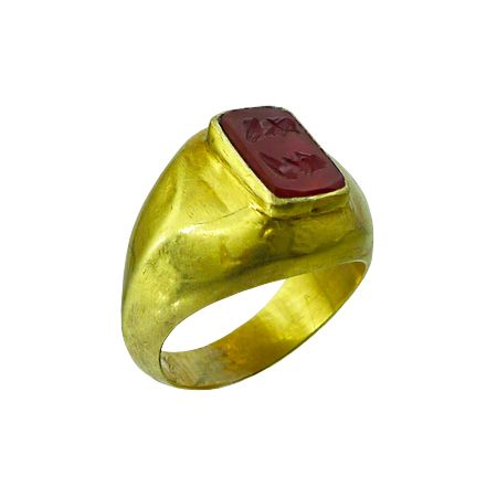 Persian Ring in gold and carnelian