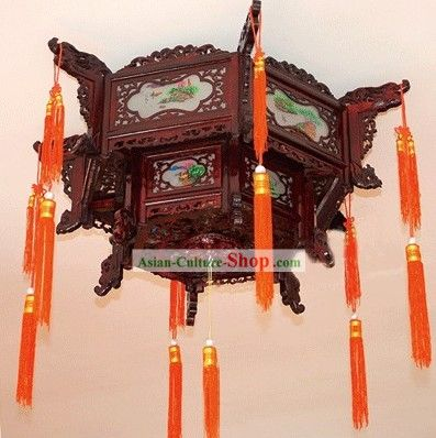 Large Traditional Chinese Hand Carved Natural Wood Two Layers Palace Lantern Lanterns Lantern Lamp Hand Carved