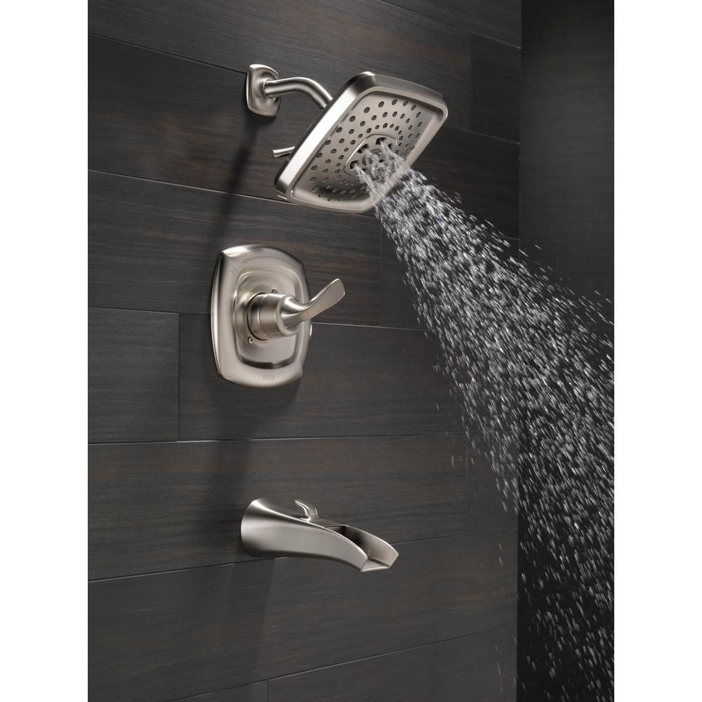 Delta Tolva H2okinetic Single Handle 3 Spray Tub And Shower Faucet In Brushed Nickel Valve Included 144724 Ss The Home Depot Waverly Court Tub Shower