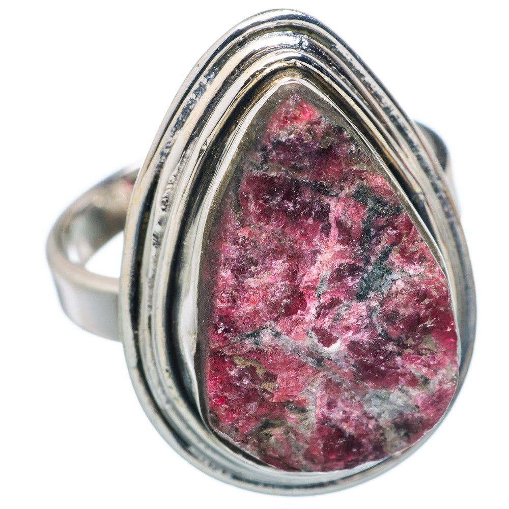 Rough Russian Eudialyte 925 Sterling Silver Ring Size 7.75 RING683796