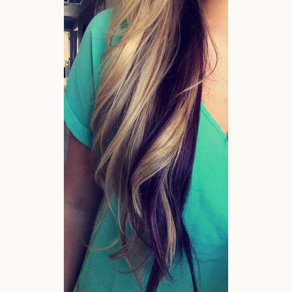 Blonde Hair Dark Brown Purple Underneath Dark Underneath Hair Purple Underneath Hair Hair Color Purple