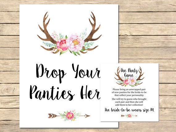 pink antlers panty game boho printable bridal shower panty game floral bachelorette party game