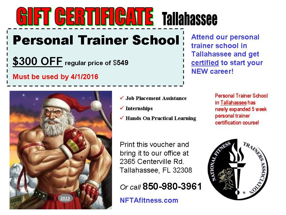 christmas gift certificates for tallahassee personal training school give your loved one or friend a