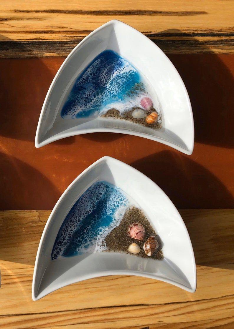 Resin Ocean Beach Waves Shell Dish