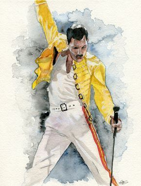 Watercolor Portrait. Personalized professional watercolor Freddie Mercury Queen #watercolor #watercolorpainting #portrait #fanart #movieart #art #artist #comission #watercolorartwork #watercolorart #freddiemercury #freddie #queen